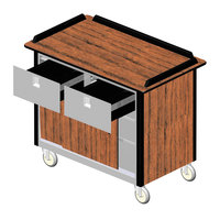 Lakeside 69040 Stainless Steel Beverage Service Cart with 2 Drawers and Victorian Cherry Laminate Finish - 26 inch x 44 1/2 inch x 37 3/4 inch