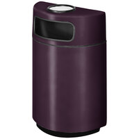 Rubbermaid FGH2436SU Half Round Open Front Eggplant Fiberglass Waste Receptacle with Rigid Plastic Liner and Sand Urn Cap Ash Tray 18 Gallon (FGFGH2436SUPLEGP)