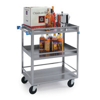 Lakeside 316 Stainless Steel Three Shelf Utility Cart - 27 1/2 inch x 16 1/4 inch x 33 3/8 inch