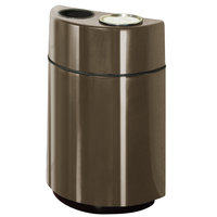 Rubbermaid FGH2436SUT Half Rounds Open-Top Bronze Fiberglass Waste Receptacle with Rigid Plastic Liner and Sand Urn Cap Ash Tray 24 Gallon (FGFGH2436SUTPLBZ)