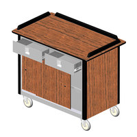 Lakeside 69020 Stainless Steel Beverage Service Cart with 2 Utility Drawers and Victorian Cherry Laminate Finish - 26 inch x 44 1/2 inch x 37 3/4 inch