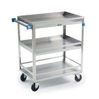 Lakeside 726 Stainless Steel Three Shelf Heavy Duty Guard Rail Utility Cart - 32 5/8 inch x 19 3/8 inch x 34 1/2 inch