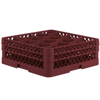 Vollrath TR18JJ Traex Rack Max Full-Size Burgundy 12-Compartment 6 3/8 inch Glass Rack