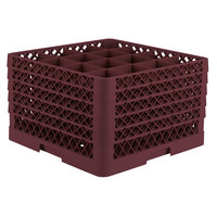 Vollrath TR8DDDDA Traex Full-Size Burgundy 16-Compartment 11 inch Glass Rack with Open Rack Extender On Top
