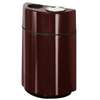 Rubbermaid FGH2436SUT Half Rounds Open-Top Dark Brown Fiberglass Waste Receptacle with Rigid Plastic Liner and Sand Urn Cap Ash Tray 24 Gallon (FGFGH2436SUTPLDBN)