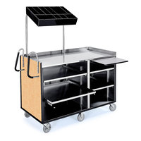 Lakeside 68010 4 Shelf Stainless Steel Vending Cart with Pull-Out Shelves and Hard Rock Maple Laminate Finish - 27 1/2 inch x 60 inch x 70 inch