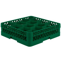 Vollrath TR18A Traex Rack Max Full-Size Green 12-Compartment 4 13/16 inch Glass Rack with Open Rack Extender On Top