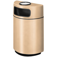 Rubbermaid FGH2436SU Half Round Open Front Tan Fiberglass Waste Receptacle with Rigid Plastic Liner and Sand Urn Cap Ash Tray 18 Gallon (FGFGH2436SUPLTN)