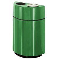 Rubbermaid FGH2436SUT Half Rounds Open-Top Bright Green Fiberglass Waste Receptacle with Rigid Plastic Liner and Sand Urn Cap Ash Tray 24 Gallon (FGFGH2436SUTPLBGN)