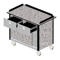 Lakeside 69040 Stainless Steel Beverage Service Cart with 2 Drawers and Gray Sand Laminate Finish - 26 inch x 44 1/2 inch x 37 3/4 inch