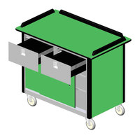 Lakeside 69040 Stainless Steel Beverage Service Cart with 2 Drawers and Green Laminate Finish - 26 inch x 44 1/2 inch x 37 3/4 inch