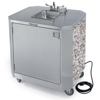Lakeside 9610 Portable Self-Contained Stainless Steel Hand Sink Cart with Hot & Cold Water Faucet, Soap Dispenser, and Gray Sand Finish - 120V