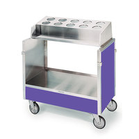 Lakeside 603 Stainless Steel Silverware / Tray Cart with 10 Hole Flatware Bin and Purple Finish - 22 1/4 inch x 36 1/4 inch x 39 3/4 inch