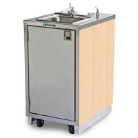 Lakeside 9620 Portable Self-Contained Stainless Steel Hand Sink Cart with Hot Water Faucet, Soap Dispenser, and Light Maple Finish - 120V