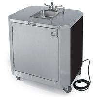Lakeside 9610 Portable Self-Contained Stainless Steel Hand Sink Cart with Hot & Cold Water Faucet, Soap Dispenser, and Black Vinyl Finish - 120V