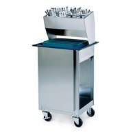 Lakeside 986 Stainless Steel Flatware / Tray Cart with 8 Hole Flatware Bin - 23 3/4 inch x 19 7/8 inch x 50 7/8 inch