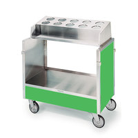 Lakeside 603 Stainless Steel Silverware / Tray Cart with 10 Hole Flatware Bin and Green Finish - 22 1/4 inch x 36 1/4 inch x 39 3/4 inch