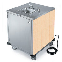 Lakeside 9600 Portable Self-Contained Stainless Steel Hand Sink Cart with Cold Water Faucet, Soap Dispenser, and Light Maple Finish - 115V