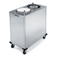 Lakeside 927 Stainless Steel Mobile Enclosed Two Stack Heated Adjust-A-Fit Dish Dispenser for 6 1/2 inch to 9 3/4 inch Dishes - 120V