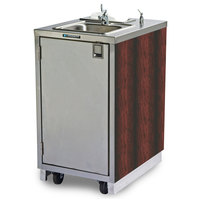 Lakeside 9620 Portable Self-Contained Stainless Steel Hand Sink Cart with Hot Water Faucet, Soap Dispenser, and Red Maple Finish - 120V