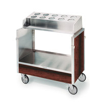 Lakeside 603 Stainless Steel Silverware / Tray Cart with 10 Hole Flatware Bin and Red Maple Finish - 22 1/4 inch x 36 1/4 inch x 39 3/4 inch