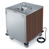 Lakeside 9600 Portable Self-Contained Stainless Steel Hand Sink Cart with Cold Water Faucet, Soap Dispenser, and Walnut Finish - 115V