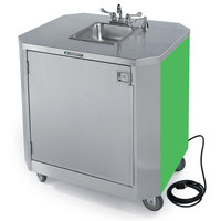 Lakeside 9610 Portable Self-Contained Stainless Steel Hand Sink Cart with Hot & Cold Water Faucet, Soap Dispenser, and Green Finish - 120V