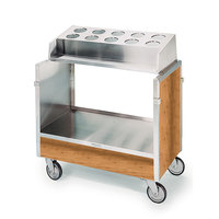 Lakeside 603 Stainless Steel Silverware / Tray Cart with 10 Hole Flatware Bin and Light Maple Finish - 22 1/4 inch x 36 1/4 inch x 39 3/4 inch