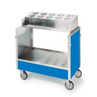 Lakeside 603 Stainless Steel Silverware / Tray Cart with 10 Hole Flatware Bin and Royal Blue Finish - 22 1/4 inch x 36 1/4 inch x 39 3/4 inch
