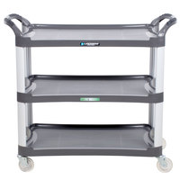 Lakeside 2512 Charcoal Plastic Three Shelf Utility Cart - 42 inch x 20 inch x 37 1/2 inch