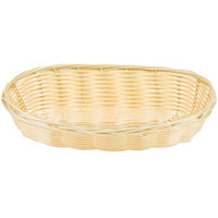 Choice 8 3/4 inch x 4 1/2 inch x 1 3/4 inch Oblong Natural-Colored Rattan Cracker Basket - 12 / Case