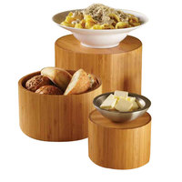 American Metalcraft RBRS3 3 Piece Round Bamboo Riser Set