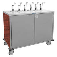 Lakeside 70221 Stainless Steel E-Z Serve 4-Pump Condiment Dispensing Cart with Red Maple Finish for 3 Gallon Condiment Pouches - 27 1/2 inch x 33 inch x 48 1/2 inch