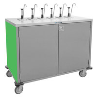 Lakeside 70211 Stainless Steel E-Z Serve 6-Pump Condiment Dispensing Cart with Green Finish for 3 Gallon Condiment Pouches - 27 1/2 inch x 50 1/4 inch x 48 1/2 inch
