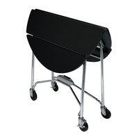 Lakeside 415 Mobile Round Top Fold-Up Room Service Table with Black Finish - 22 1/4 inch x 40 inch x 30 inch