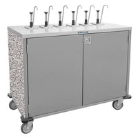 Lakeside 70211 Stainless Steel E-Z Serve 6-Pump Condiment Dispensing Cart with Gray Sand Finish for 3 Gallon Condiment Pouches - 27 1/2 inch x 50 1/4 inch x 48 1/2 inch