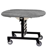 Geneva 74405 Mobile Round Top Tri-Fold Room Service Table with Pewter Brush Finish - 36 inch x 43 inch x 31 inch