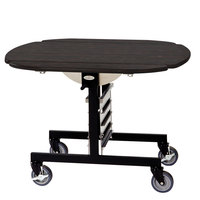 Geneva 74405 Mobile Round Top Tri-Fold Room Service Table with Ebony Wood Finish - 36 inch x 43 inch x 31 inch