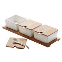American Metalcraft SPCBLS30 Square Porcelain Canisters and Tray with Porcelain Spoons