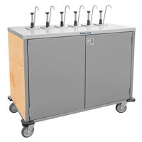 Lakeside 70221 Stainless Steel E-Z Serve 4-Pump Condiment Dispensing Cart with Hard Rock Maple Finish for 3 Gallon Condiment Pouches - 27 1/2 inch x 33 inch x 48 1/2 inch