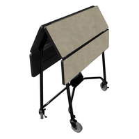 Lakeside 416 Mobile Square Top Fold-Up Room Service Table with Beige Suede Finish - 22 1/4 inch x 36 inch x 30 inch