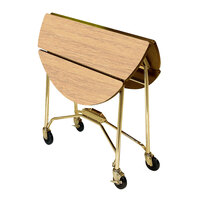 Lakeside 415 Mobile Round Top Fold-Up Room Service Table with Hard Rock Maple Finish - 22 1/4 inch x 40 inch x 30 inch