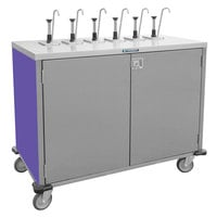Lakeside 70201 Stainless Steel E-Z Serve 8-Pump Condiment Dispensing Cart with Purple Finish for 3 Gallon Condiment Pouches - 27 1/2 inch x 50 1/4 inch x 48 1/2 inch