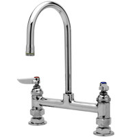 T&S B-0321 Deck Mounted Double Mixing Faucet with 8 inch Centers - 10 3/8 inch High Swivel Gooseneck with 5 11/16 inch Spread