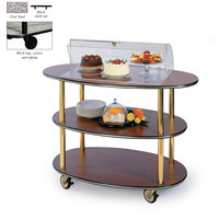 Geneva 36303 3 Oval Shelf Table Side Service Cart with Acrylic Roll Top Dome and Gray Sand Finish - 23 inch x 44 inch x 44 1/4 inch