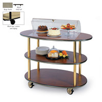 Geneva 36303 3 Oval Shelf Table Side Service Cart with Acrylic Roll Top Dome and Beige Suede Finish - 23 inch x 44 inch x 44 1/4 inch
