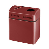 Rubbermaid FGR2416 Recycling Centers Burgundy Fiberglass 2-Section Paper/Trash Recycling Center with Rigid Plastic Liner (2) 16 Gallon (FGFGR2416TPPLBY)