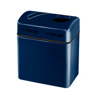 Rubbermaid FGR2416 Recycling Centers Navy Blue Fiberglass 2-Section Paper/Trash Recycling Center with Rigid Plastic Liner (2) 16 Gallon (FGFGR2416TPPLNBL)