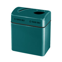 Rubbermaid FGR2416 Recycling Centers Forest Green Fiberglass 2-Section Paper/Trash Recycling Center with Rigid Plastic Liner (2) 16 Gallon (FGFGR2416TPPLFGN)