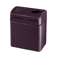 Rubbermaid FGR2416 Recycling Centers Eggplant Fiberglass 2-Section Paper/Trash Recycling Center with Rigid Plastic Liner (2) 16 Gallon (FGFG2416TPPLEGP)